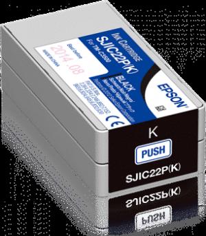 INKTCARTRIDGE ZWART (BLACK) VOOR DE EPSON TM-C3500 SJIC22P(K)